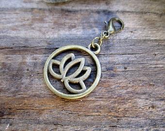 Bronze Lotus Charm - Midori Charm - Fauxdori Traveler's Notebook Charm