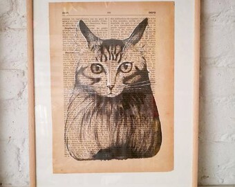 CATS No. 4. Printed drawing on recycled paper with highlights in black ink. 9,5x6,8in. Gift, Christmas, la petite illustration, cats