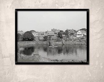 Water front, Marblehead, Massachusetts, 1900.Marblehead Ma photo - Art Print.