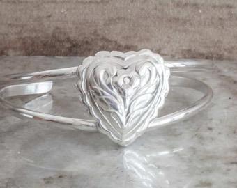 Heart Bracelet Sterling Silver Handmade Cuff Bracelet