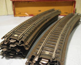 Vintage Gilbert American Flyer Set of Metal Train Tracks   Curved Train Tracks With Original Boxes   Tru Model Train Tracks  HO Scale