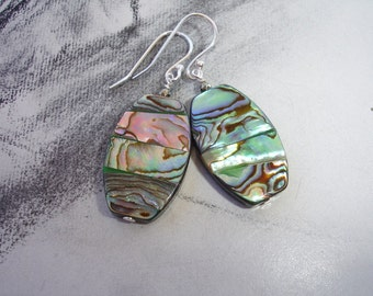 Abalone Dangle Earrings, Sterling Silver, Pyrite Accents, Modern Style