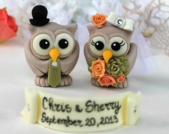 Owl wedding cake topper with banner, wedding succulent bouquet, customizable love birds
