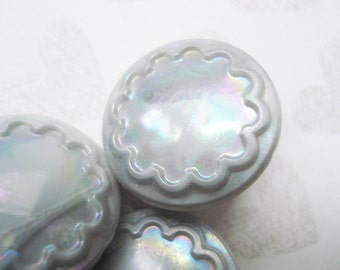 Fancy Gray Glass AB Buttons - Vintage Czech Glass Buttons - 7 Vintage Grey Glass Buttons - Fancy Grey Aurora Borealis Czech Buttons