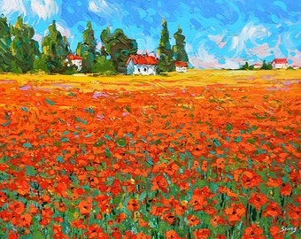 Field with poppies - Oil palette knife on canvas Painting by Dmitry Spiros. wall decor, home decor, poppy painting, living room decor art