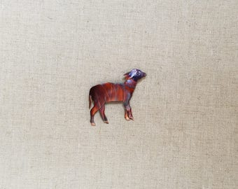 Flame painted copper Lamb, pin