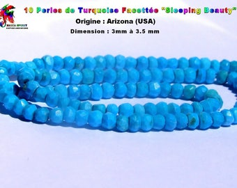 10 micro beads Rondelle faceted natural turquoise Rare Sleeping Beauty from 3 mm to 3.5 mm