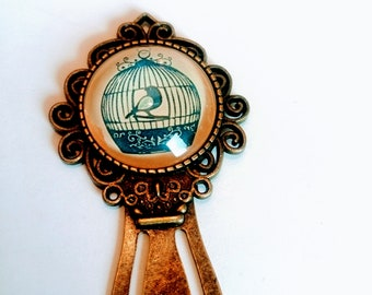 Marque page originale cabochon motif oiseau nature vintage chic bronze cadeau