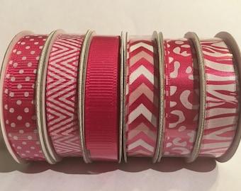Pink ribbon, ribbon set, pink chevron, pink polkadot ribbon, pink animal pattern ribbon, ribbon, pink, pink zig zag ribbon