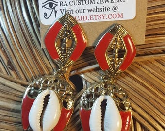 Red/Gold tone cowrie shells earrings Gift Set