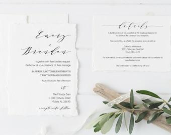 Printable Invitation, Invitation Template, Wedding Invitations, Modern Calligraphy, Wedding Invite, Rustic Wedding, PDF Download Invitation