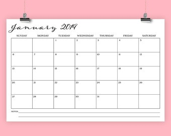 11 x 17 Inch 2019 Calendar Template | INSTANT DOWNLOAD | Romantic Script Type Monthly Printable Minimal Desk or Wall Calender | Print Ready