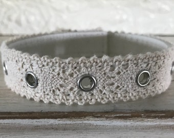 Personalized leather lace cuff