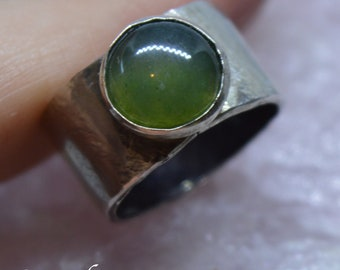 Moss Agate sterling silver gemstone ring, UK size L US size 6