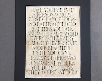 Calligraphy Atticus Love Quote