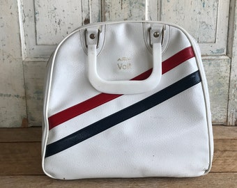 Vintage AMF Voit Bowling Bag White Red Blue Stripe