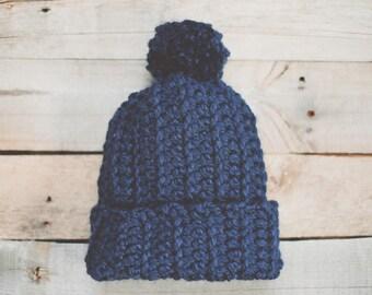 Blue Hat Pom Pom | Slouch Beanie | Crocheted Hat | Chunky Hat | Wool Blend | Adult | Handmade | Soft | Denim