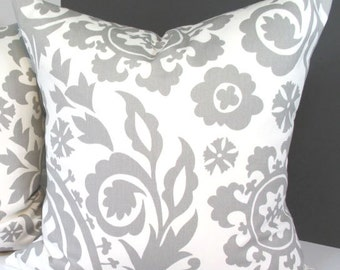 GREY FLORAL PILLOW. Invisible Zipper. 13 StandardSizes. Custom Sizes & Detailing Available. Designer Fabrics from Premier Prints.