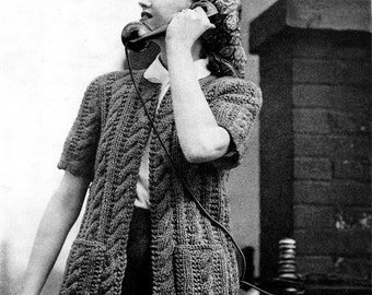 1940s Knitted WWII Home Front Cable Cardigan-  PDF Pattern Download