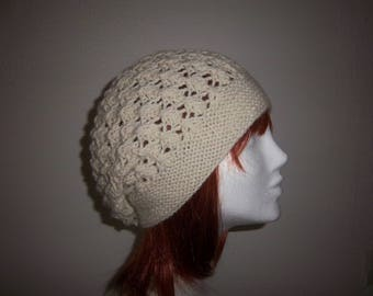 Wool and alpaca point lace (ecru)