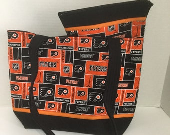 Philadelphia Flyers Tote - Quilted Tote - Flyers Tote - Shopping Bag - Flyers Purse - Flyers Cosmetic Bag - NHL Tote  - Philadelphia Flyers