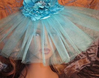 Vintage Starlet in Aqua, Great Gatsby, 1920s, Art Deco, Headpiece, Jazz Age, Old Hollywood