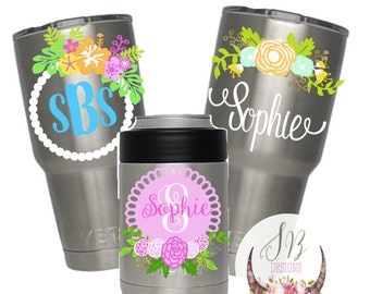 Floral Monogram Decal | Customizable Decal | Floral Monogram Sticker | YETI Decal | Floral Antler Decal |