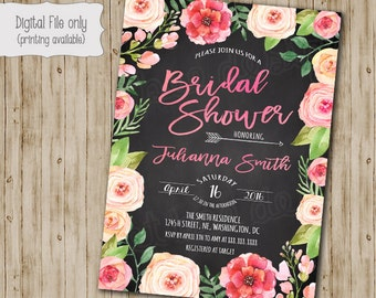 Floral Bridal Shower Invitation, Watercolor, Floral, Chalkboard, Rustic, Shabby Chic, Boho Bridal Shower Invitation, Custom Printable