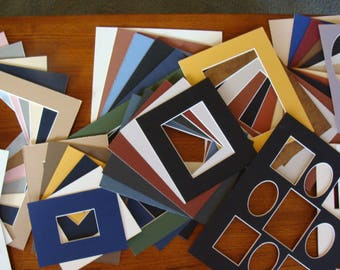 "Lot of 50 Mats  Matboards Variety of Colors, Sizes Archival Quality Acid & Lignin Free, Largest 11 x 13"" Some Multi Openings Artist School"
