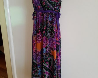 70s Retro Party Floral Maxi Dress Size Small Medium
