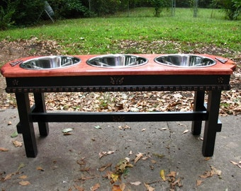 Red Oak Stained Top Elevated  Pet Feeder, Raised Pet Feeder, Large Dogs, Feeding Station, Three Bowls,  Made to Order