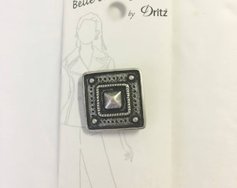 Belle Buttons By Dritz 34mm ( 1 3/8 inches) Antique Silver and Black Square Metal Buttons BB163 Italian | Loomahat