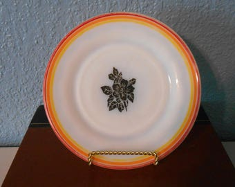 Vintage white milk glass plate with black flowers, Playonite plate, Striped plate, Black flowers, Vintage kitchen