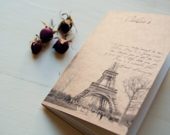 From Paris with love notebook, tour eiffel handmade eco friendly notebook, recycled paper