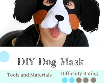 Dog Mask PATTERN // DIY Felt Animal Mask // Party Mask Sewing Pattern.
