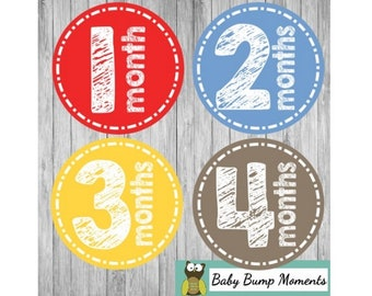 Printable Month Stickers Boy, Monthly Baby Stickers, Baby Stickers, Baby Monthly Milestone, DIY, , Digital, Primary Colors, Chalkboard