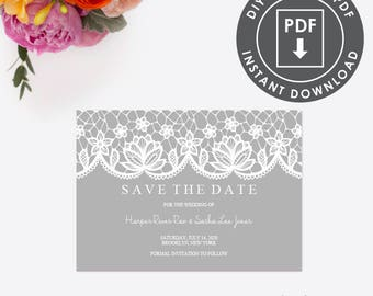 Rustic Save The Date | Instant Download Wedding STD | Editable Save the Date Template | Rustic STD | Lace Invitation PDF | 006G