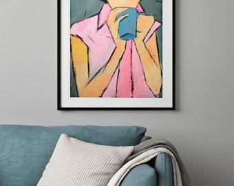 Art giclee print, Oil painting, Wall art print, Girl portrait, Pink Blue Artwork
