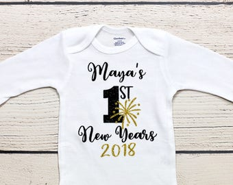 My first New Years onesie |  Personalized name onesie, New Years onesie, baby girl onesie, holiday onesie, New Years, shirt, toddler shirt