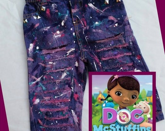 Doc McStuffins Inspired Splatter Paint Distressed Ripped Jeans- Shorts- Skirts- Baby Girl- Baby Boy- Kids Fashion- Newborn- Infant- Toddler