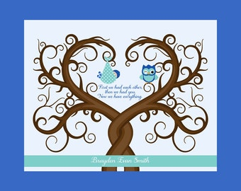 Babyshower Guest Book Tree, Owl Nursery Decor, Fingerprint Tree for Baby Shower, Baby Guestbook Wall Art Print, First we each other