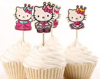 READY TO SHIP Hello Kitty Inspired Cupcake Toppers, Toppers, Picks, Cake Toppers, Cake Topper Pick, Cupcake Picks, Birthday, Baby