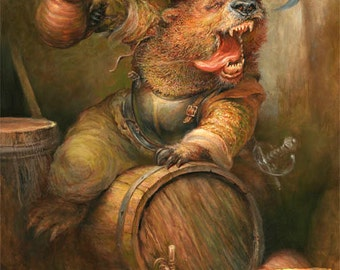 Beer Barrel Bear (print)