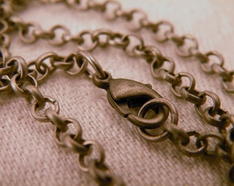 Antiqued Silver 26 inch Vintage Style Rolo Chain Necklace Blank