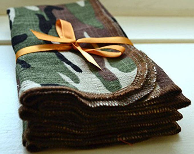 SECONDS- Camouflage Cotton Polyester Napkins with texture similar to natural linen. Pick from 2 different sizes