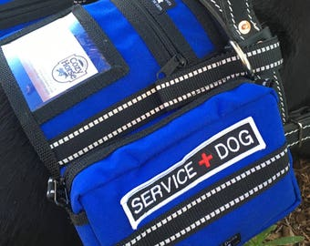 Royal blue Backpack Service Dog vest with service dog patches and ID pocket, saddlebag vest for attaching to Guide Harness, VEST ONLY