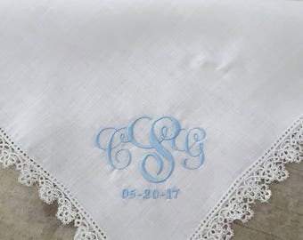 Monogrammed Handkerchief | Wedding | Mother of the Bride | Baptism | Christening | Bouquet Wrap | Baby Blessing | Something Blue | Keepsake