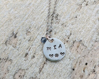 Hand Stamped Pewter Riverstone pendant. Made to Order. Stainless Steel necklace