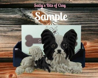 Black and White Long Haired Chihuahua Business Card Holder / Iphone / Cell phone / Post it Notes OOAK sculpture by Sally's Bits of Clay