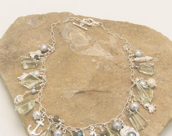 Green Amethyst and Sterling Silver Nautical Chatm Necklace